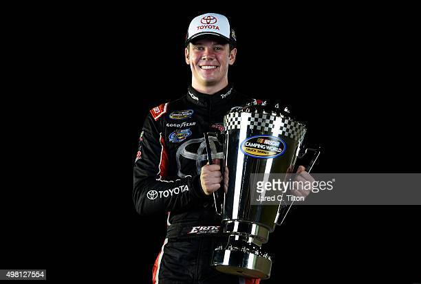 Erik Jones driver of the Toyota poses for a portrait after winning the NASCAR Camping World Truck Series Championship at HomesteadMiami Speedway on...