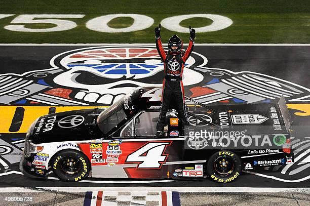 Erik Jones driver of the Toyota Toyota celebrates winning the NASCAR Camping World Truck Series WinStar World Casino 350 at Texas Motor Speedway on...