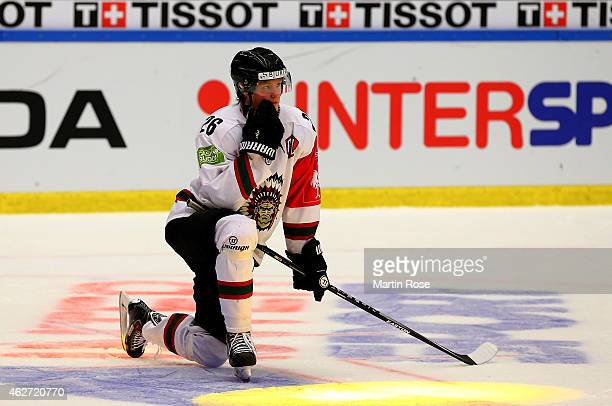 Erik Karlsson of Gothenburg looks dejected after the Champions Hockey League final match at Coop Norrbotten Arena on February 3 2015 in Lulea Sweden