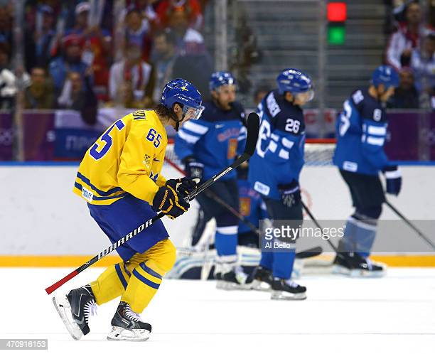 Erik Karlsson of Sweden celebrates a goal in the second period against Finland during the Men's Ice Hockey Semifinal Playoff on Day 14 of the 2014...
