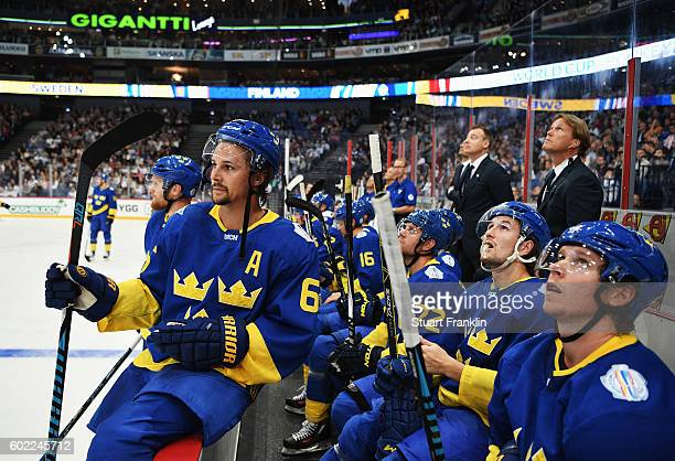 Erik Karlsson of Sweden looks on during the World Cup of Hockey game between Finland and Sweden at the Hartwell Areena on September 8 2016 in...