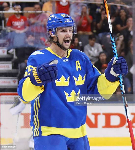 Erik Karlsson of Team Sweden celebrates his third period goal against Team Europe at the semifinal game during the World Cup of Hockey tournament at...