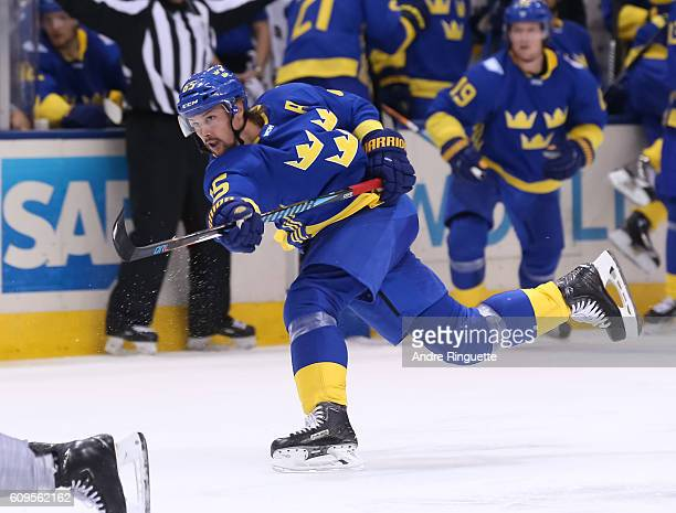 Erik Karlsson of Team Sweden fires a slapshot against Team North America during the World Cup of Hockey 2016 at Air Canada Centre on September 21...