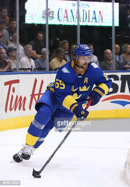Erik Karlsson of Team Sweden stickhandles the puck against Team North America during the World Cup of Hockey 2016 at Air Canada Centre on September...