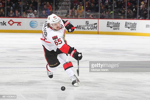 Erik Karlsson of the Ottawa Senators breaks his stick in half during a slap shot against the Colorado Avalanche at the Pepsi Center on January 08...