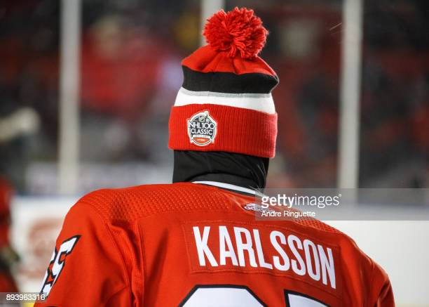 Erik Karlsson of the Ottawa Senators during warmup prior to a game against the Montreal Canadiens in the 2017 Scotiabank NHL100 Classic at Lansdowne...
