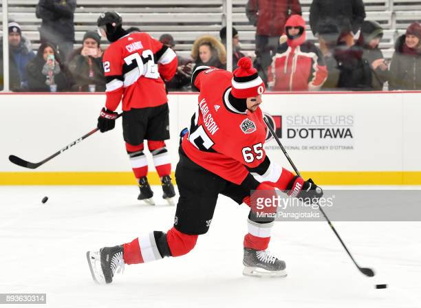 Erik Karlsson of the Ottawa Senators fires a shot during the 2017 Scotiabank NHL100 Classic Ottawa Senators practice on Parliament Hill on December...
