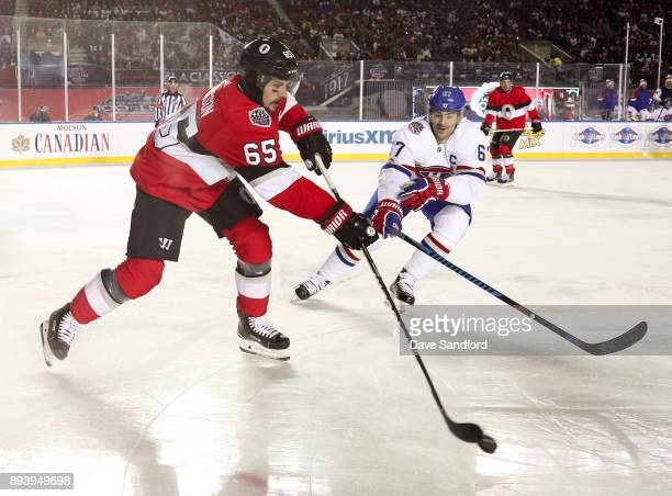 Erik Karlsson of the Ottawa Senators gets a pass off with pressure from Max Pacioretty of the Montreal Canadiens during the 2017 Scotiabank NHL100...