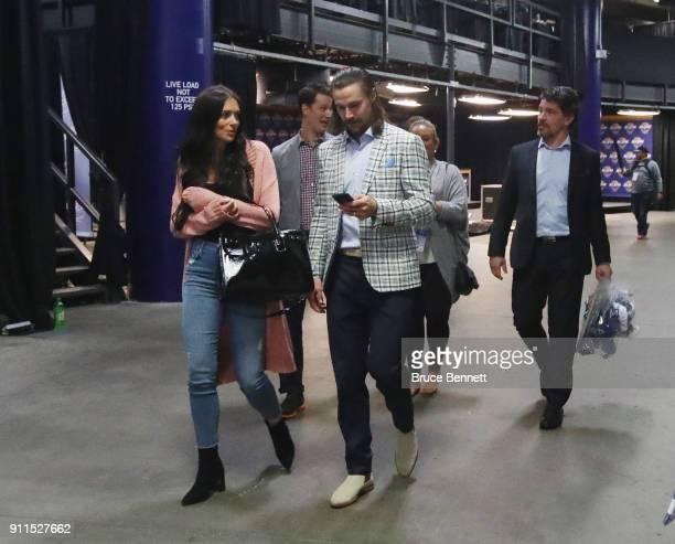 Erik Karlsson of the Ottawa Senators leaves the arena following the 2018 Honda NHL AllStar Game at Amalie Arena on January 28 2018 in Tampa Florida