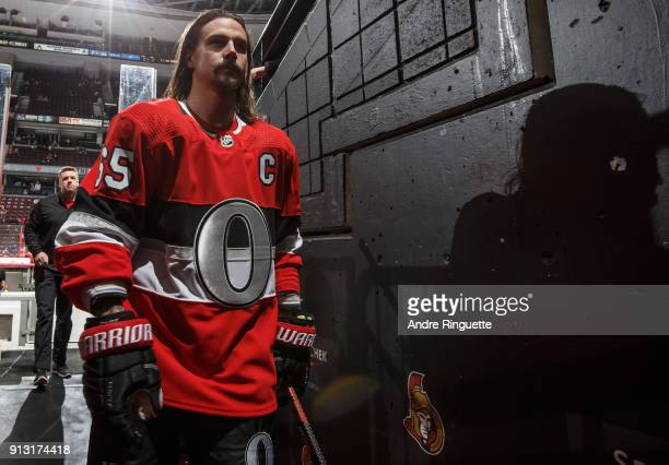 Erik Karlsson of the Ottawa Senators leaves the ice after warmup prior to a game against the Anaheim Ducks at Canadian Tire Centre on February 1 2018...