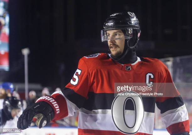 Erik Karlsson of the Ottawa Senators looks on during a game against the Montreal Canadiens during the of the 2017 Scotiabank NHL100 Classic at...
