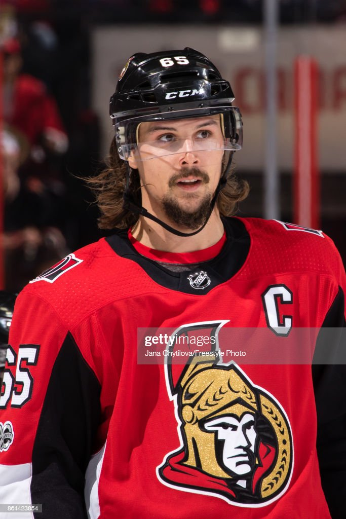 new styles 345c4 24d54 Erik Karlsson of the Ottawa Senators looks on during a ...