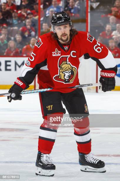 Erik Karlsson of the Ottawa Senators looks on prior to a faceoff against the New York Rangers in Game Five of the Eastern Conference Second Round...