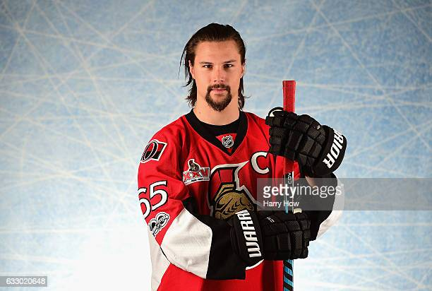 Erik Karlsson of the Ottawa Senators poses for a portrait prior to the 2017 Honda NHL All-Star Game at Staples Center on January 29, 2017 in Los...