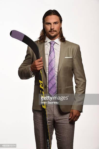 Erik Karlsson of the Ottawa Senators poses for pictures at the NHL Player Media Tour at the Ritz Carlton on September 9 2015 in Toronto Ontario