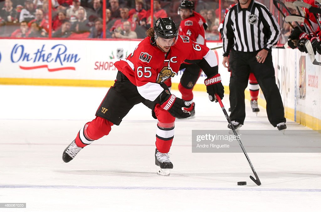 Erik Karlsson #65 of the Ottawa Senators skates against the New York Islanders at Canadian Tire Centre on December 4, 2014 in Ottawa, Ontario, Canada.