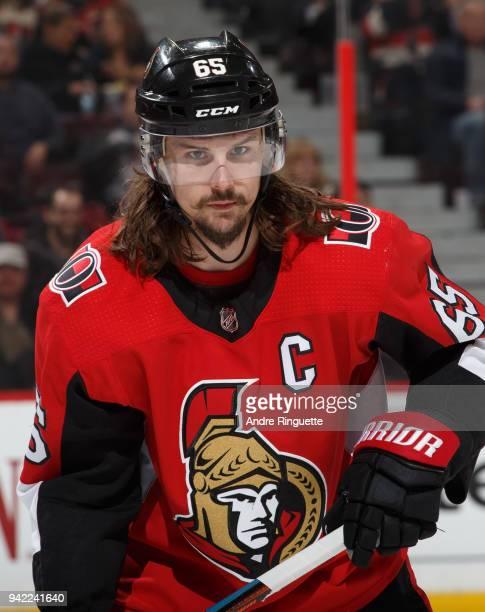 Erik Karlsson of the Ottawa Senators skates against the Winnipeg Jets at Canadian Tire Centre on April 2 2018 in Ottawa Ontario Canada