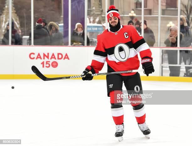 Erik Karlsson of the Ottawa Senators skates during the 2017 Scotiabank NHL100 Classic Ottawa Senators practice on Parliament Hill on December 15 2017...