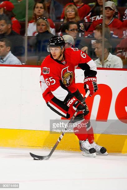 Erik Karlsson of the Ottawa Senators skates in a preseason game against the Montreal Canadiens at Scotiabank Place on September 19 2009 in Ottawa...