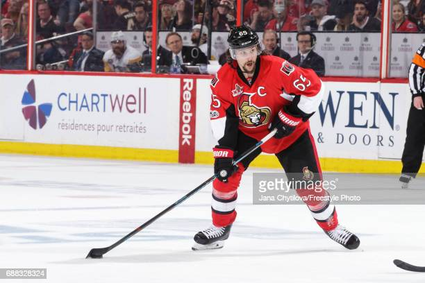 Erik Karlsson of the Ottawa Senators skates with puck against the Pittsburgh Penguins in Game Six of the Eastern Conference Final during the 2017 NHL...