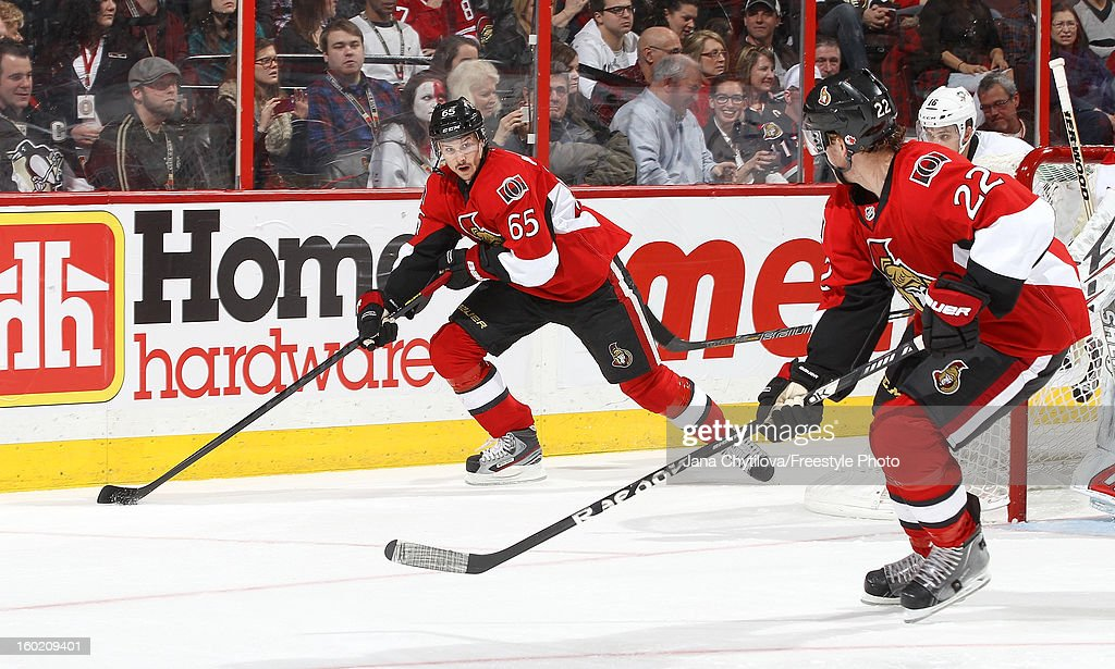 Erik Karlsson #65 of the Ottawa Senators skates with the puck against the Pittsburgh Penguins during an NHL game at Scotiabank Place on January 27, 2013 in Ottawa, Ontario, Canada.