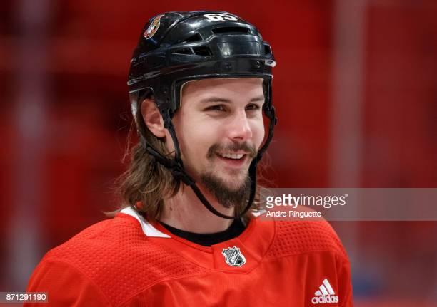Erik Karlsson of the Ottawa Senators smiles during practice at Ericsson Globe on November 7 2017 in Stockholm Sweden