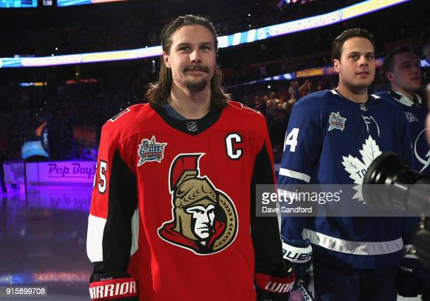 Erik Karlsson of the Ottawa Senators stands on the ice before the 2018 GEICO NHL AllStar Skills Competition at Amalie Arena on January 27 2018 in...