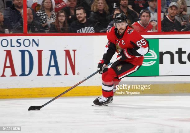 Erik Karlsson of the Ottawa Senators stickhandles the puck against the Winnipeg Jets at Canadian Tire Centre on April 2 2018 in Ottawa Ontario Canada
