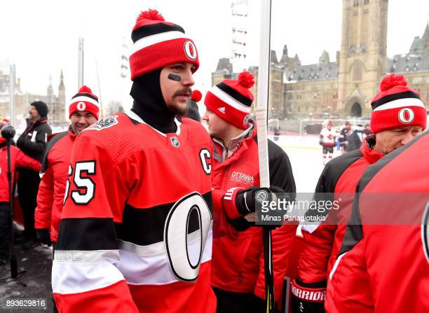 Erik Karlsson of the Ottawa Senators walks to the ice during the 2017 Scotiabank NHL100 Classic Ottawa Senators practice on Parliament Hill on...
