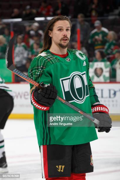 Erik Karlsson of the Ottawa Senators warms up in a green jersey for St Patrick's Day prior to a game against the Dallas Stars at Canadian Tire Centre...