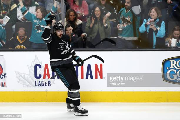 Erik Karlsson of the San Jose Sharks celebrates after a goal against the Central Division during the 2019 Honda NHL AllStar Game at SAP Center on...