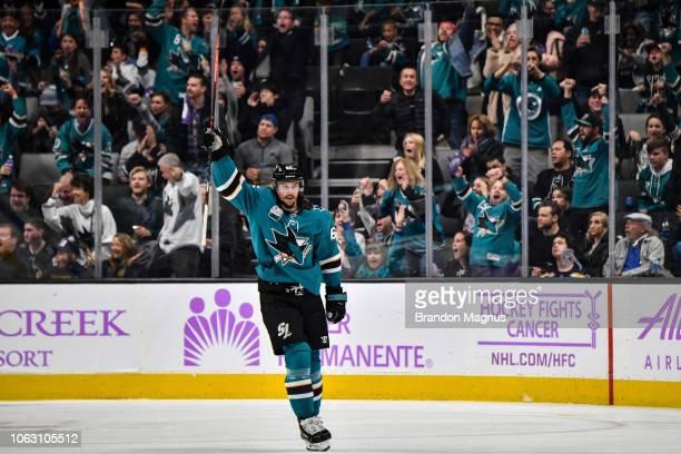 Erik Karlsson of the San Jose Sharks celebrates scoring a goal against the St Louis Blues at SAP Center on November 17 2018 in San Jose California