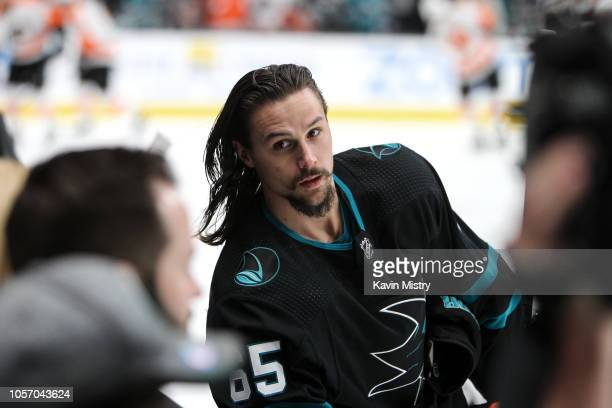 Erik Karlsson of the San Jose Sharks during warmups before the game against the Philadelphia Flyers at SAP Center on November 3 2018 in San Jose...