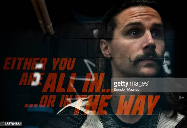 Erik Karlsson of the San Jose Sharks prepares for warmups against the Vancouver Canucks at SAP Center on December 14 2019 in San Jose California