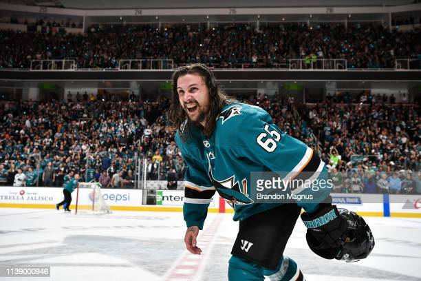 Erik Karlsson of the San Jose Sharks salutes the crowd after the win against the Vegas Golden Knights in Game Seven of the Western Conference First...
