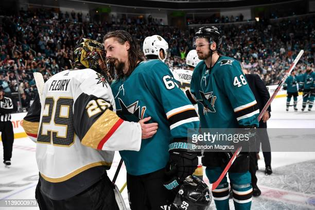 Erik Karlsson of the San Jose Sharks shakes hands with MarcAndre Fleury of the Vegas Golden Knights in Game Seven of the Western Conference First...