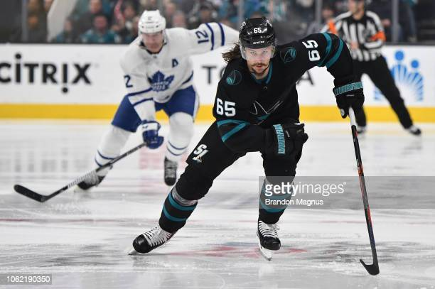 Erik Karlsson of the San Jose Sharks skates ahead against the Toronto Maple Leafs at SAP Center on November 15 2018 in San Jose California