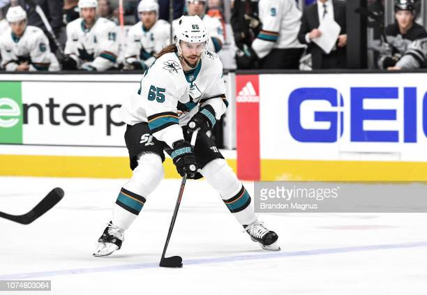 Erik Karlsson of the San Jose Sharks skates ahead with the puck against the Los Angeles Kings at SAP Center on December 22 2018 in San Jose California