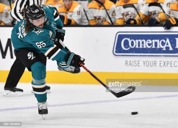 Erik Karlsson of the San Jose Sharks takes a shot on goal against the Nashville Predators at SAP Center on November 13 2018 in San Jose California