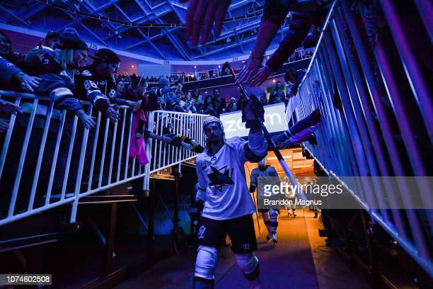 Erik Karlsson of the San Jose Sharks takes the ice against the Los Angeles Kings at SAP Center on December 22 2018 in San Jose California