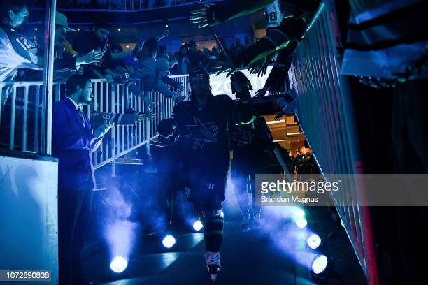 Erik Karlsson takes the ice against the Dallas Stars at SAP Center on December 13 2018 in San Jose California