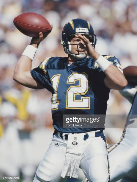 Erik Kramer Quarterback for the San Diego Chargers prepares to throw a pass during the American Football Conference West game against the Seattle...