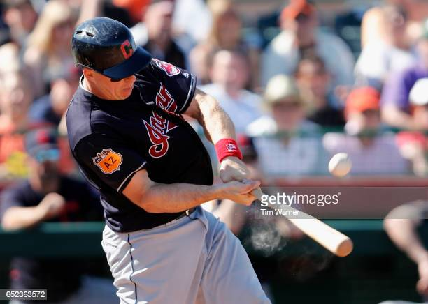 Erik Kratz of the Cleveland Indians bats against the San Francisco Giants during the spring training game at Scottsdale Stadium on March 11 2017 in...