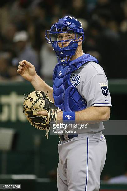 Erik Kratz of the Kansas City Royals looks on in the eighth inning during the game three of Samurai Japan and MLB All Stars at Tokyo Dome on November...