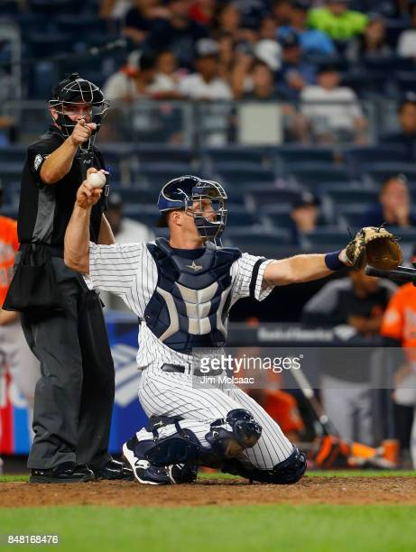 Erik Kratz of the New York Yankees in action against the Baltimore Orioles at Yankee Stadium on September 16 2017 in the Bronx borough of New York...