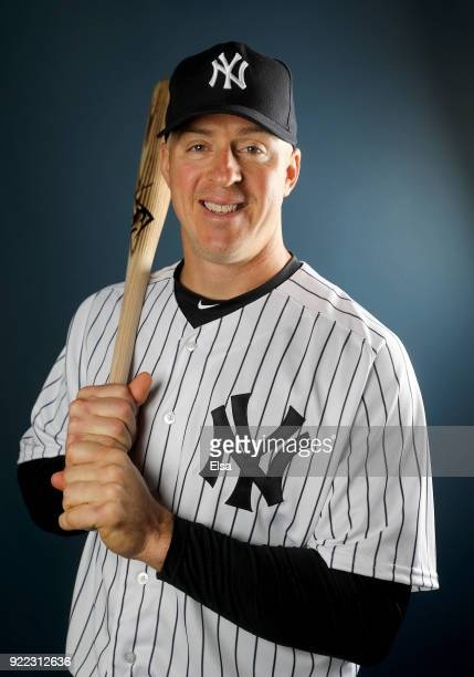 Erik Kratz of the New York Yankees poses for a portrait during the New York Yankees photo day on February 21 2018 at George M Steinbrenner Field in...