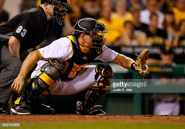Erik Kratz of the Pittsburgh Pirates in action during the game against the St Louis Cardinals at PNC Park on June 11 2015 in Pittsburgh Pennsylvania