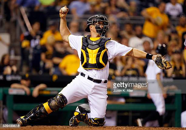 Erik Kratz of the Pittsburgh Pirates in action in the eighth inning during the game against the St Louis Cardinals at PNC Park on June 11 2015 in...