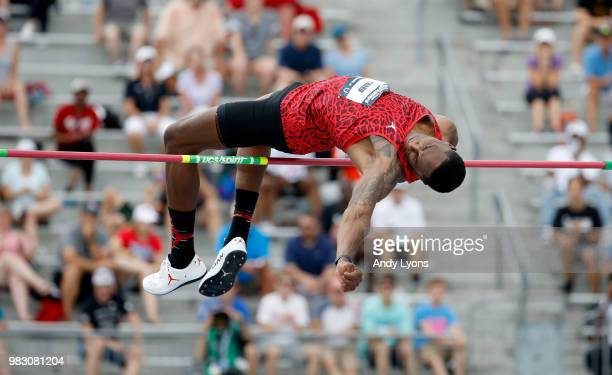 Erik Kynard clears the bar in the Mens High Jump Final during day 4 of the 2018 USATF Outdoor Championships at Drake Stadium on June 24 2018 in Des...