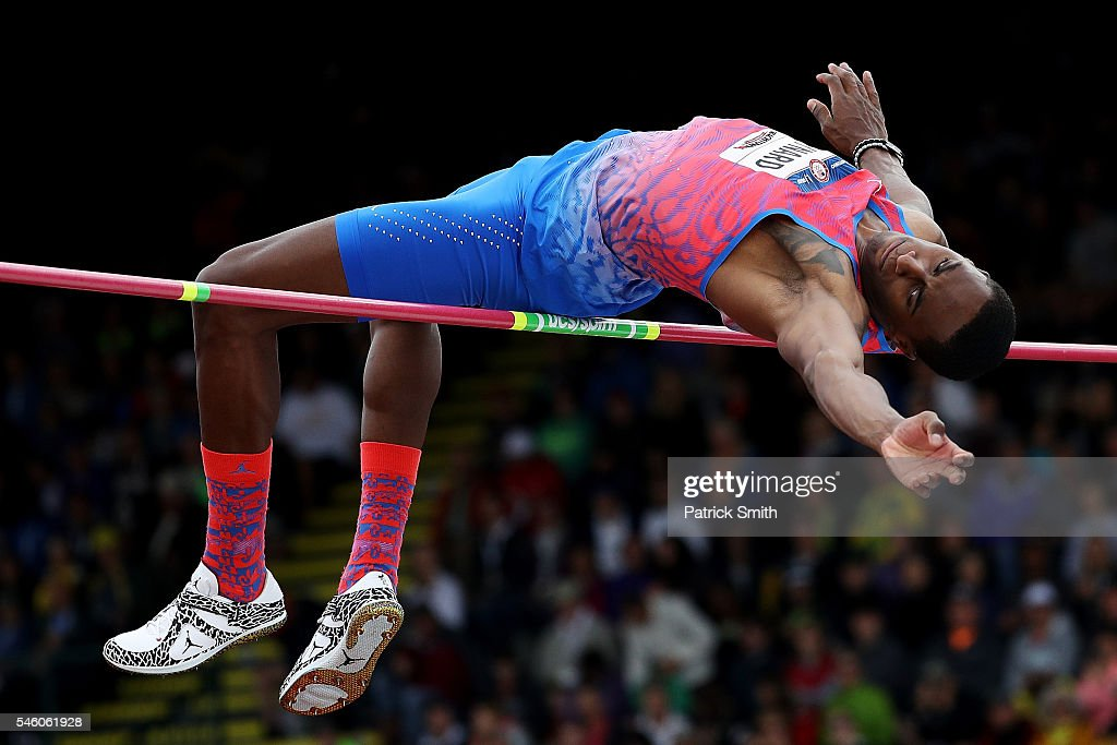 Erik Kynard competes on his way to placing first in the Men's High Jump Final during the 2016 U.S. Olympic Track & Field Team Trials at Hayward Field on July 10, 2016 in Eugene, Oregon.